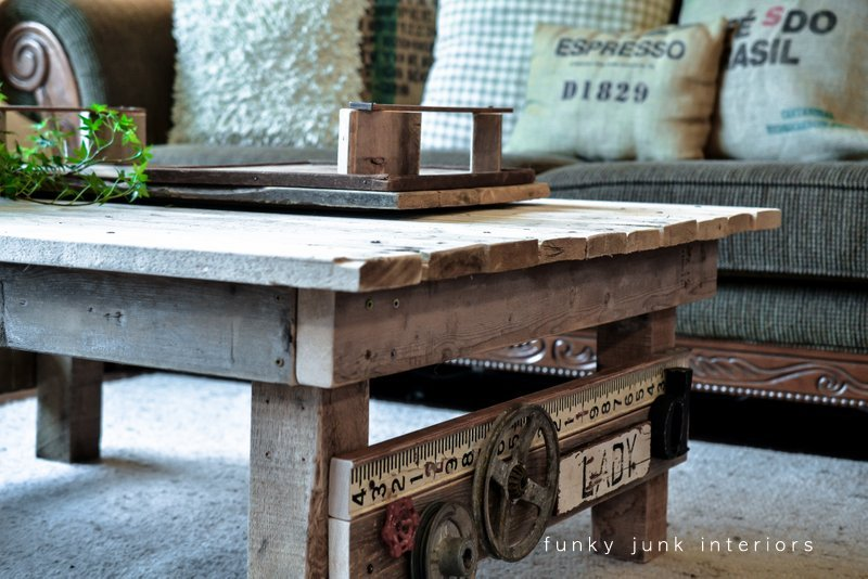 My new junk styled pallet wood coffee table Funky Junk
