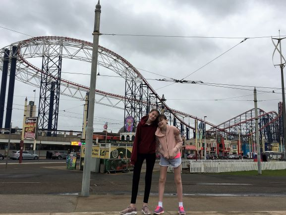 stephs two girls outside blackpool pleasure beach