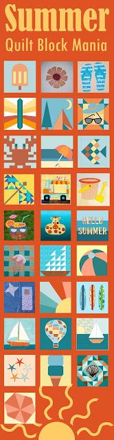 List of FREE Summer Fun quilt block patterns