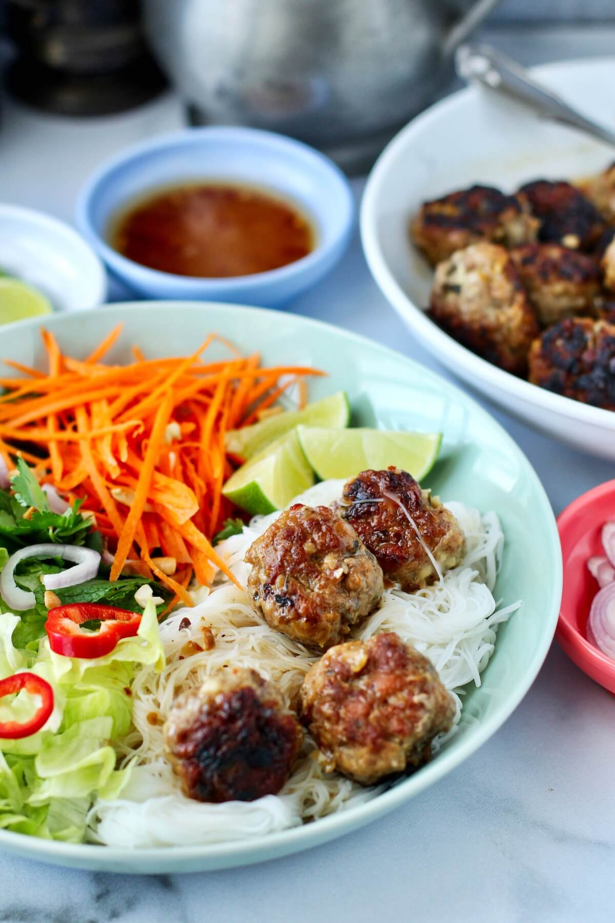 Vietnamese-Style Meatballs with Rice Noodles serving suggestion