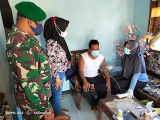 Babinsa Dampingi dan Dukung Percepatan Vaksinasi Di Wilayah Binaan