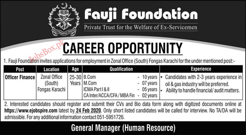 Jobs in Fauji Foundation Karachi 2020