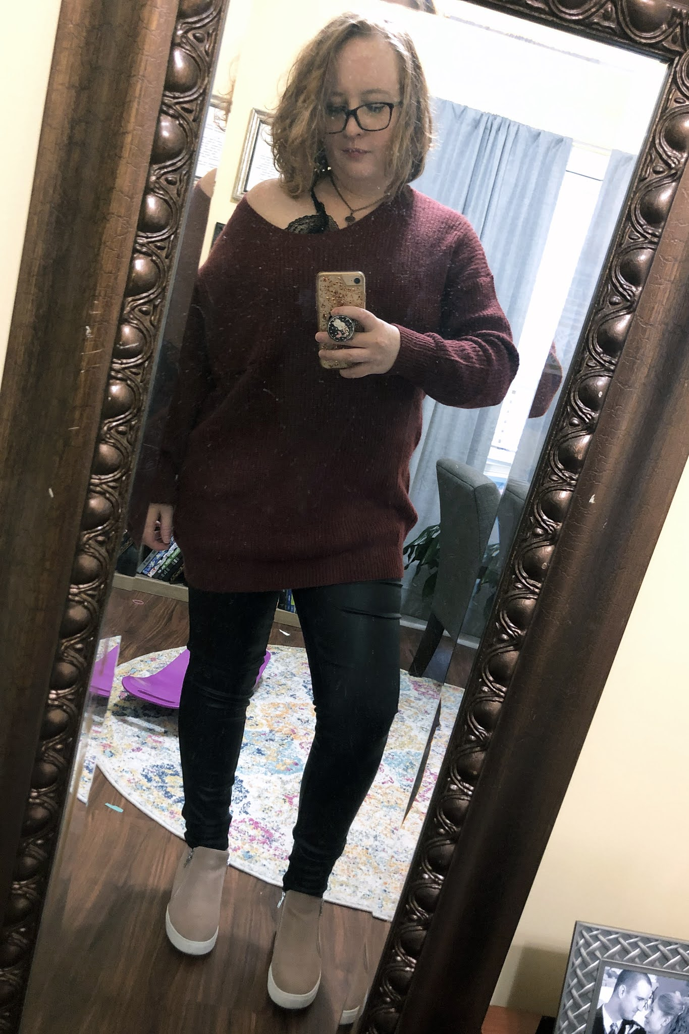 slouchy burgundy sweater leather pants