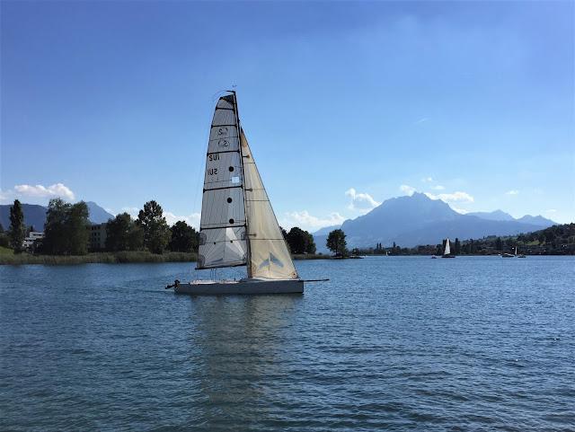 Segelschiff im Wind in der Küssnachter Bucht