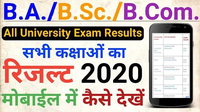 All University ( BA, BSc, BCom ) Results 2020 / BA रिजल्ट यहां देखें 2020