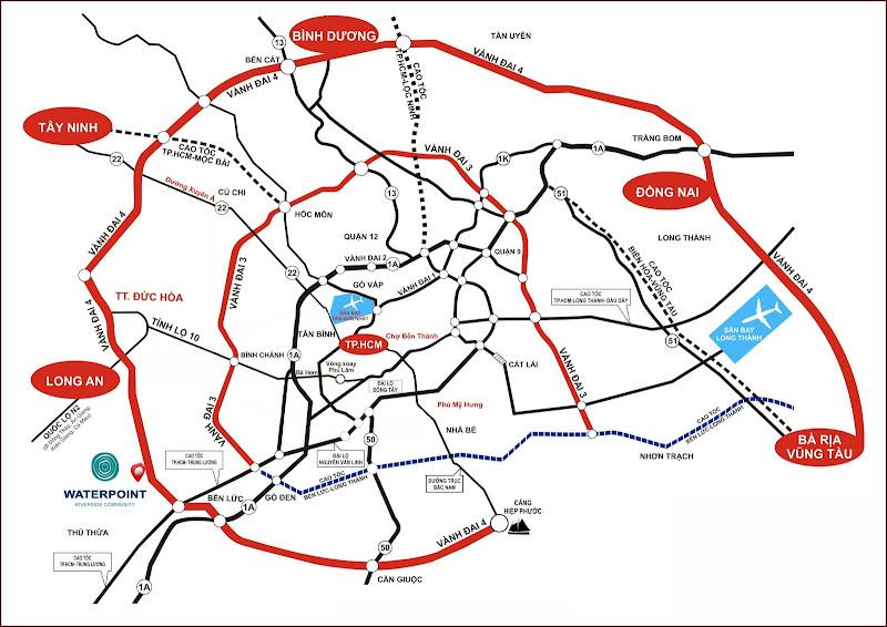 Kết nối trong tương lai: đường vành đai 3,4; đường cao tốc Bến Lức- Long Thành