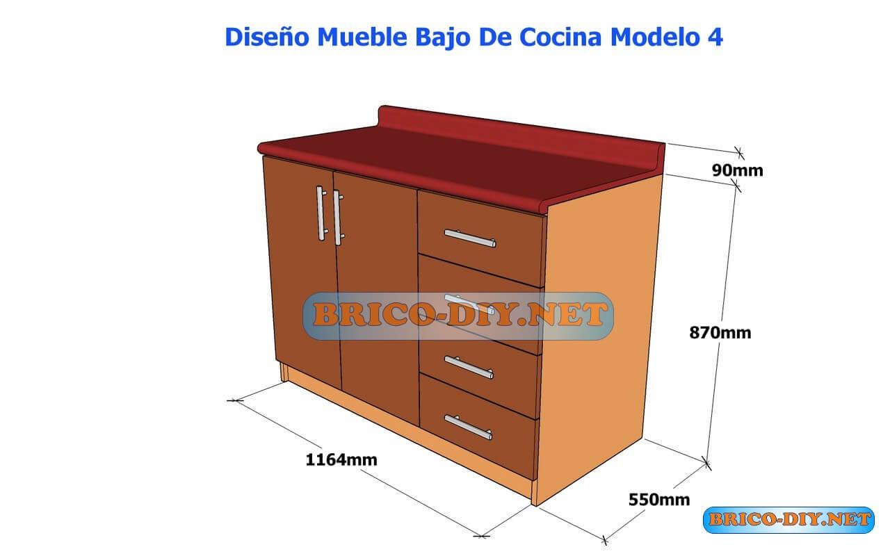 Dise os de muebles bajos de cocina en mdf madera y for Planos y diseno de muebles