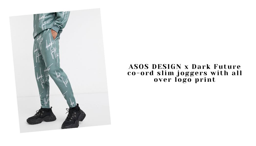 ASOS DESIGN x Dark Future co-ord slim joggers with all over logo print