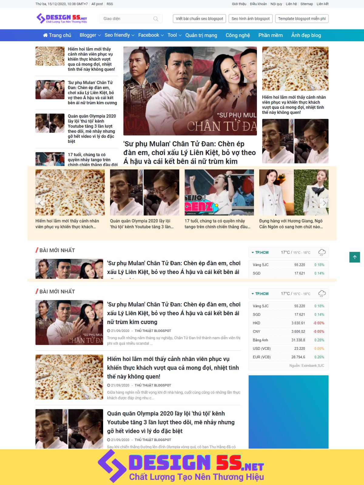Theme blogspot tin tức atn, đẹp, chuẩn SEO