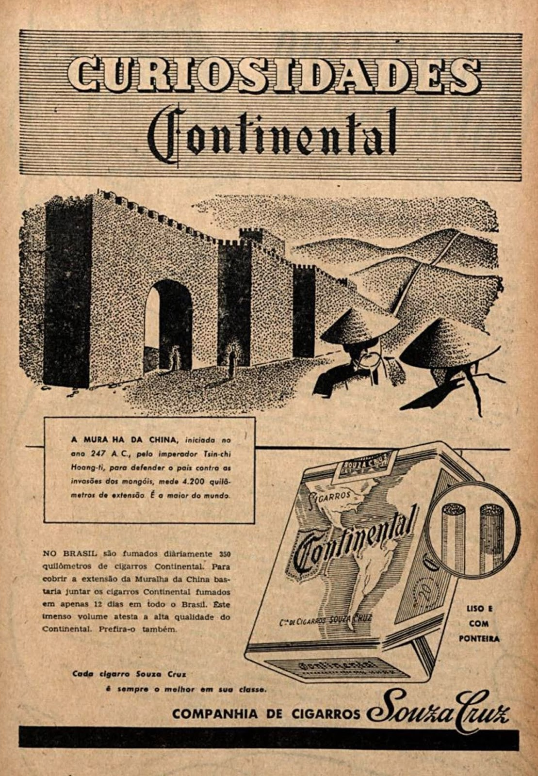 Propaganda de 1948 dos Cigarros Continental falando sobre a Muralha da China