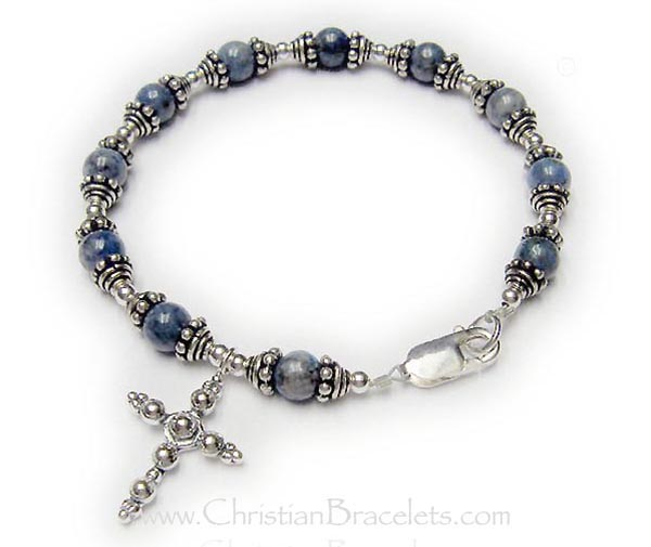 Lapis Lazuli What Would Jesus Do Bracelet - Shown with a lobster claw clasp, 5.5mm block letters and no charms.