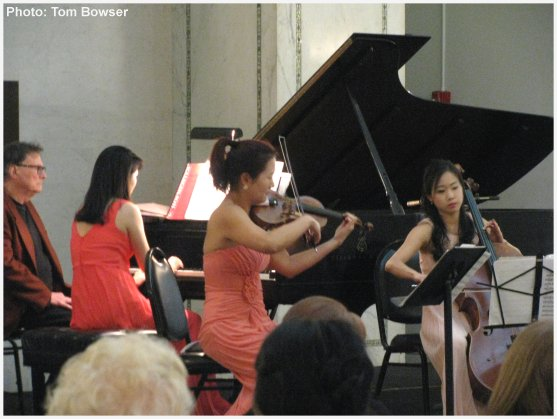 The Allant Trio | Beth Hyo Kyoung Nam - piano - Anna Park - violin - Alina Lim - cello -  performing at the Dame Myra Hess Memorial Concert - Photograph by Tom Bowser