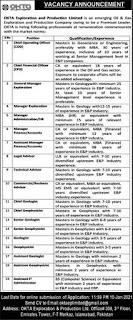 OKTA Exploration & Production Company Jobs 2021 Islamabad