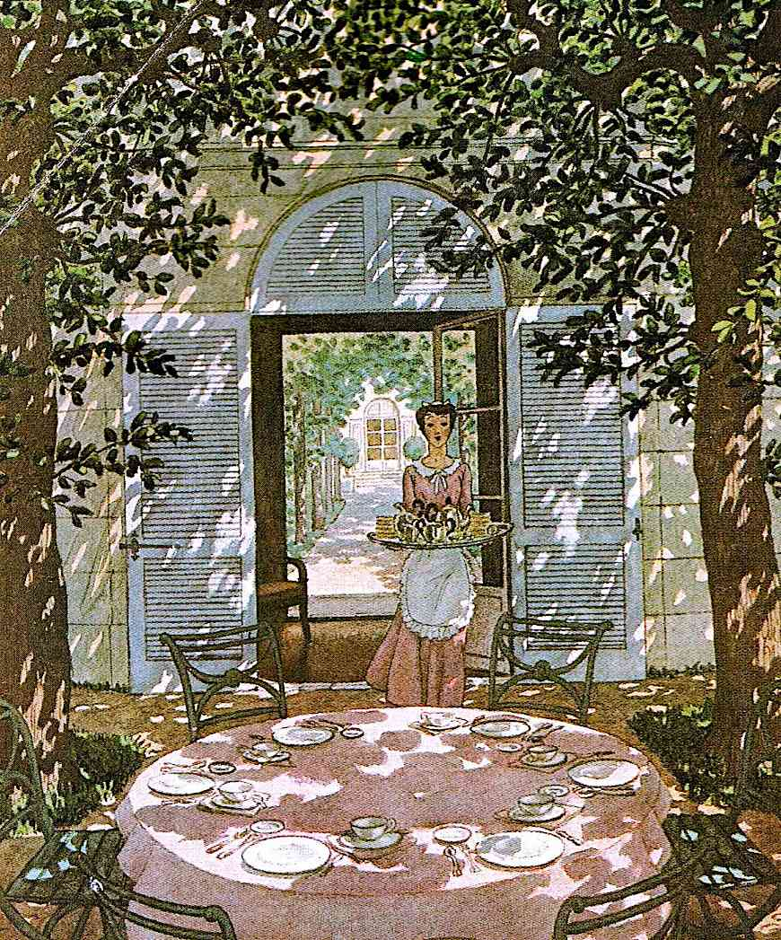 sun-dappled 1940s illustration of a maid setting tea outside