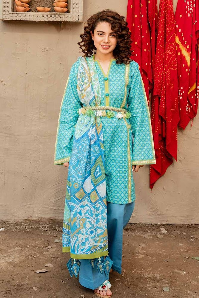 Gul Ahmed Blue Printed 3 PC suit Hala Pottery summer Collection