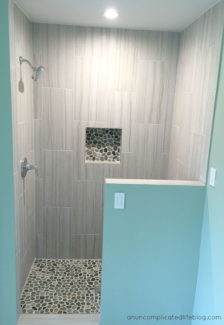 Bathroom remodel: custom designed river stone shower #bathroom #design