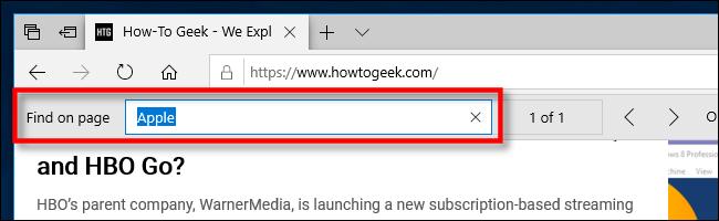 ابحث في الصفحة في Edge على جهاز الكمبيوتر