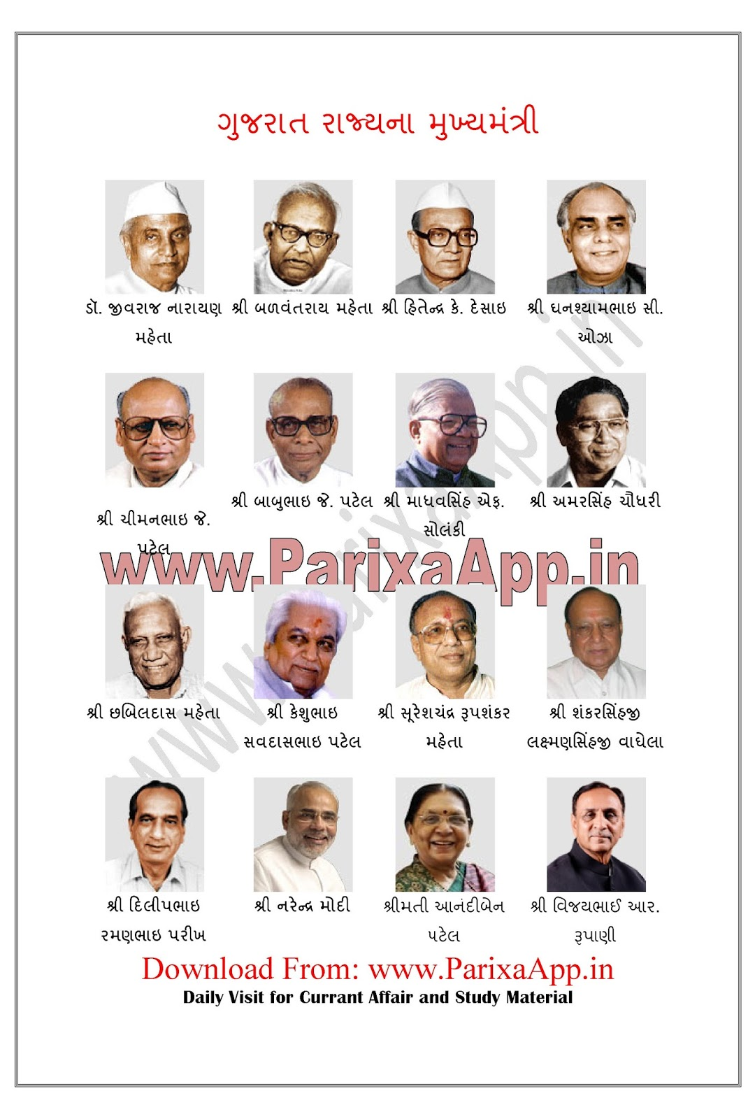 LIST OF CM OF GUJARAT PDF DOWNLOAD