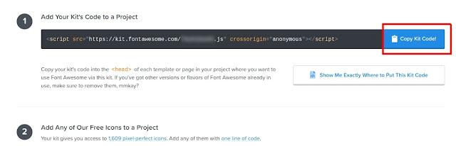 fontawesome.com - copy kit code