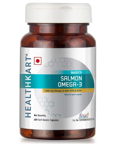 Healthkart Salmon Omega-3 1000mg (180mg EPA & 120mg DHA) Fish oil from premium salmon fish, For brain, heart, joint health) 60 capsules