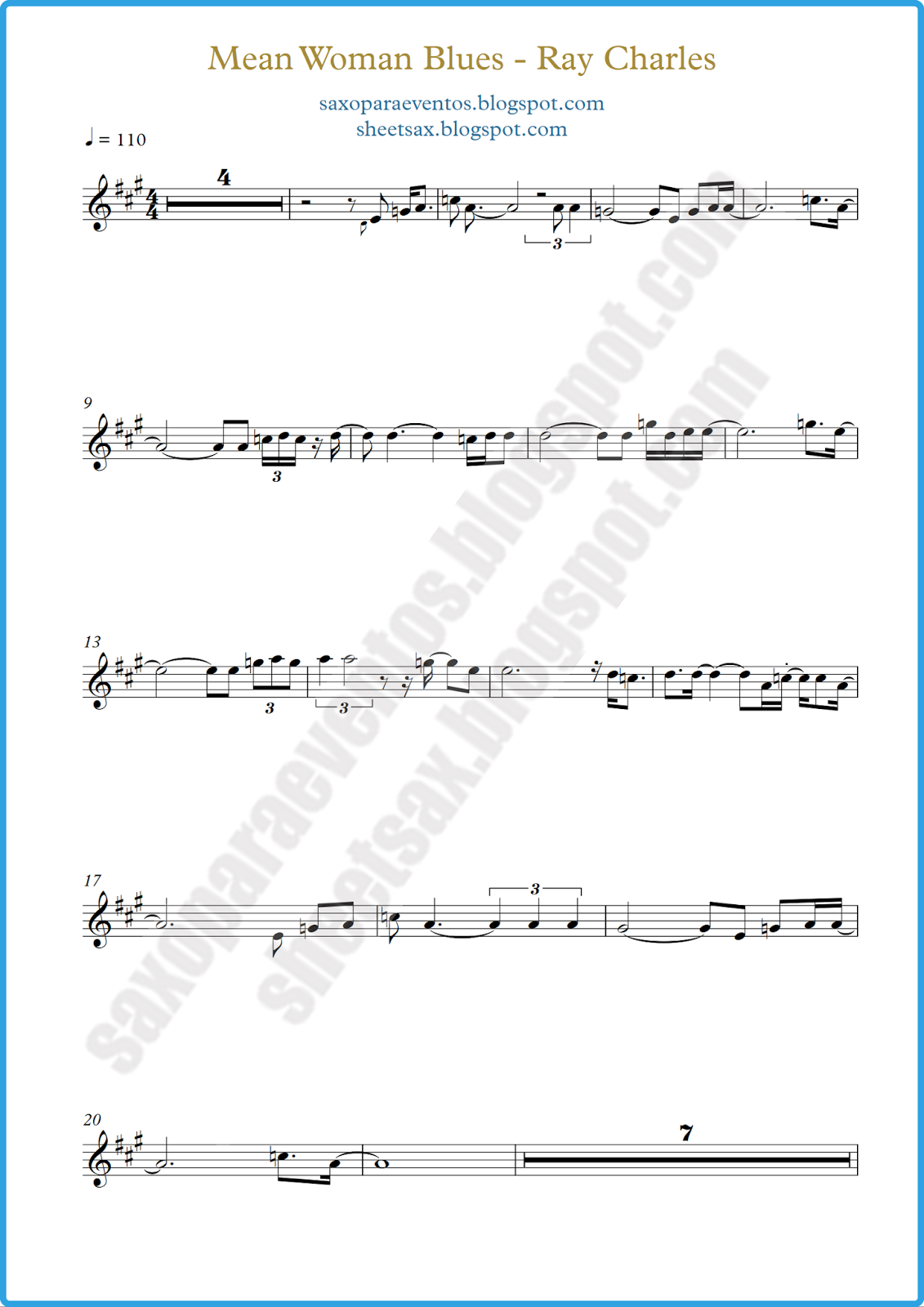 Mean Woman Blues by Ray Charles (Free sheet music) | Free