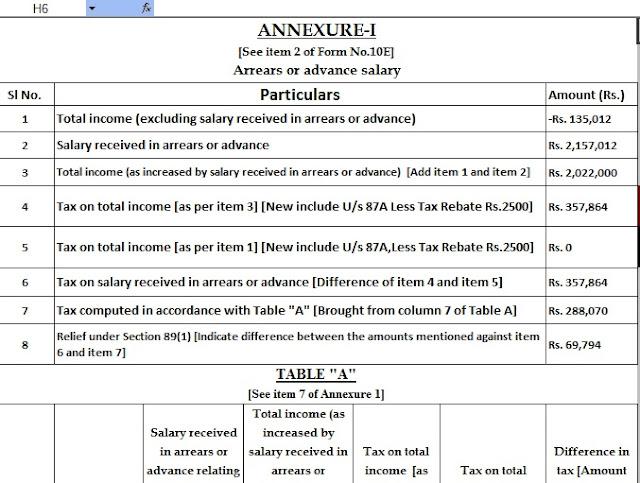 Income Tax Form 10E in Excel