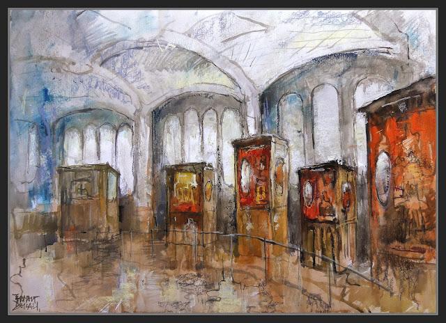 BARCELONA-TIBIDABO-PINTURA-ART-MUSEU-AUTOMATS-VITRINES-PARC-ATRACCIONS-PERSONATGES-PINTOR-ERNEST DESCALS