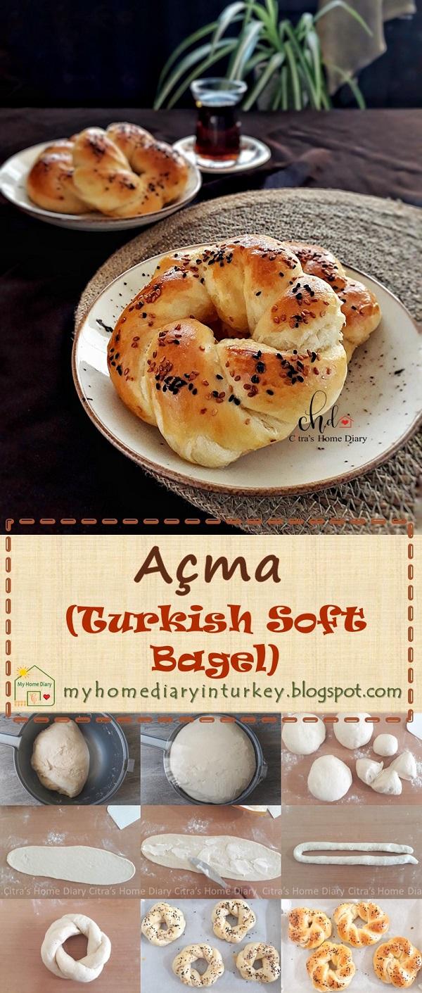 Açma / Turkish soft bagel   Çitra's Home Diary. #turkishfoodrecipe #açmatarifi #resepmasakanturki #simit #turkishbagel #softbread #softbagel #breakfast