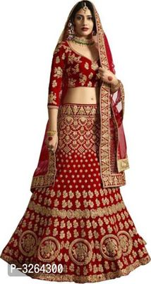 Red Rich Embroidered Lehenga Choli With Lace Border Dupatta