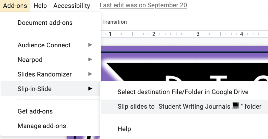 Have you ever wanted to add slides to existing Google Slides presentations your students have already started working on? Come read about the Slip-in-Slide Add-On that is ideal for teachers who use digital notebooks, digital writing journals, digital activities and more that are created in Google Slides! This is a game changer for the Google Classroom.