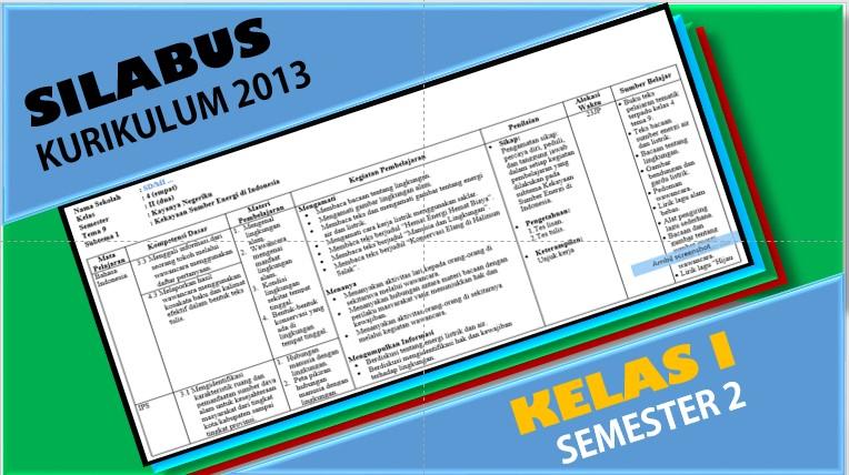 Silabus Kelas 1 Semester 2 Kurikulum 2013 Format Lengkap Portal Edukasi Dikdas