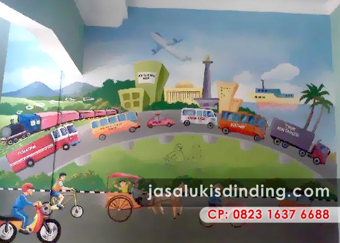 Lukisan dinding dekorasi interior yang menarik untuk for Mural untuk kanak kanak