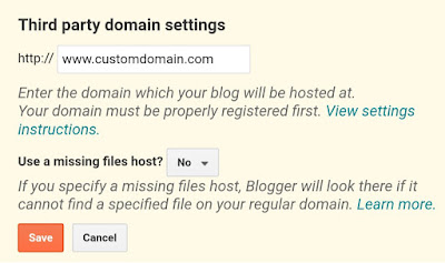Enter your custom domain in Blogger