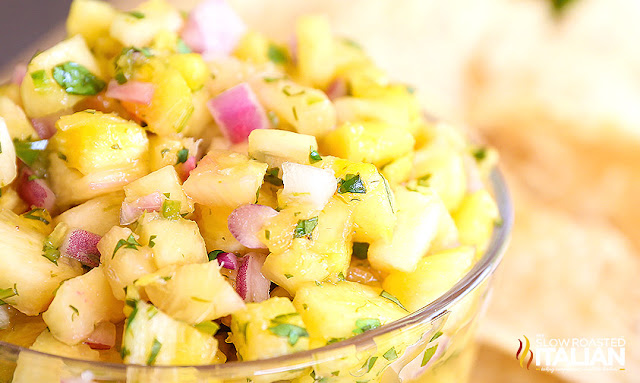bowl of spicy pineapple salsa