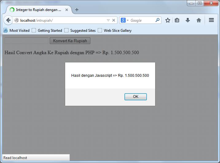 Integer to Rupiah dengan PHP dan Javascript