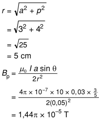 Suatu titik P diletakkan 4 cm dari pusat kumparan. Jika ...