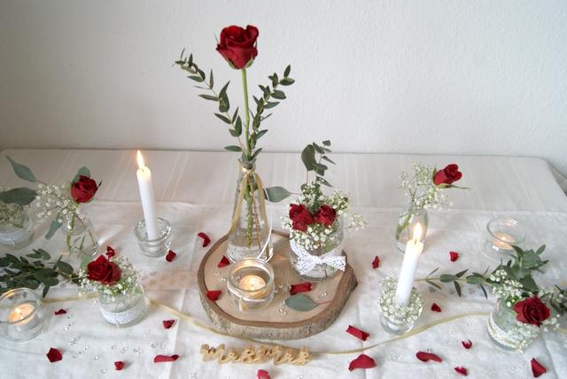 Tischdeko zur Hochzeit selbst gemacht