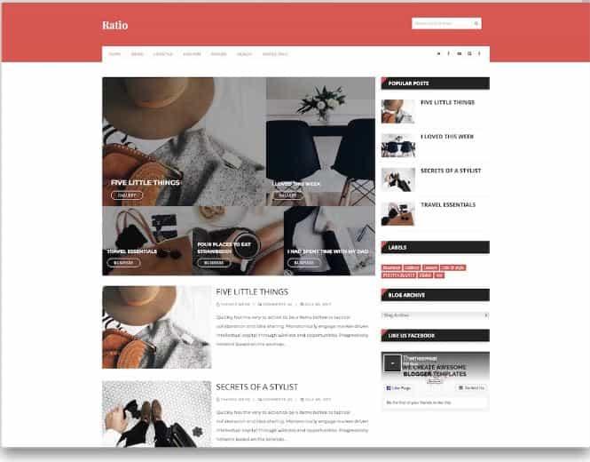 Ratio Blogger templates