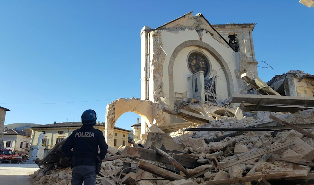 St Benedict's Cathedral (Norcia), erected in the late 14th century and completely destroyed after the Mw 6.5 earthquake of 30th October.