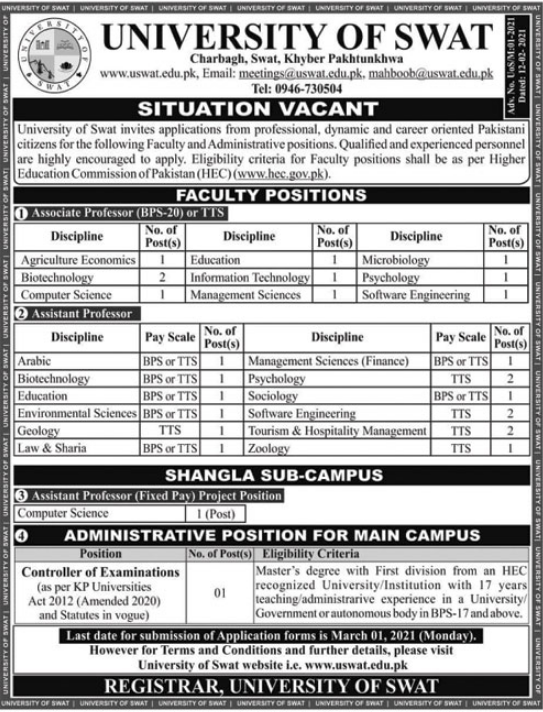 University of Swat Jobs 2021 For Faculty & Administrative Staff