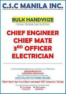 Hiring jobs for Filipino seaman crew work at bulk carrier ship deployment November 2018.