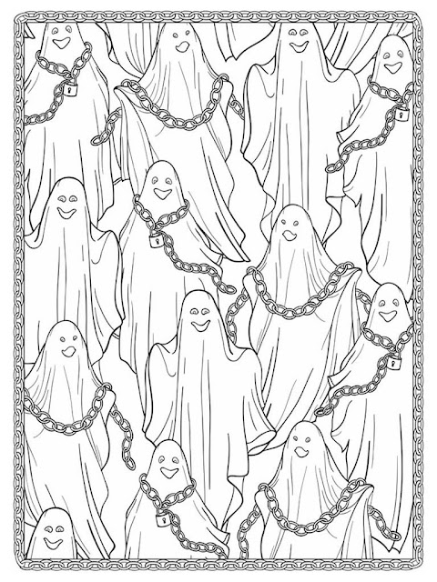 Halloween scapes coloring pages for adult free sample 5
