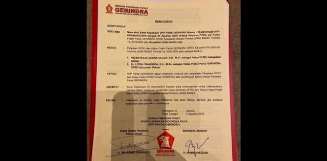 Beredar Surat Keputusan DPP Gerindra, Ketua DPRD Kabupaten Bekasi Diganti?