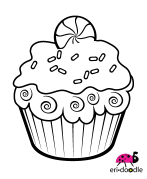 christmas cupcake coloring pages - photo#12