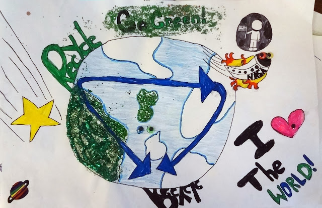 Environmental Poster project for kids, 4th and 5th grade earth day art project