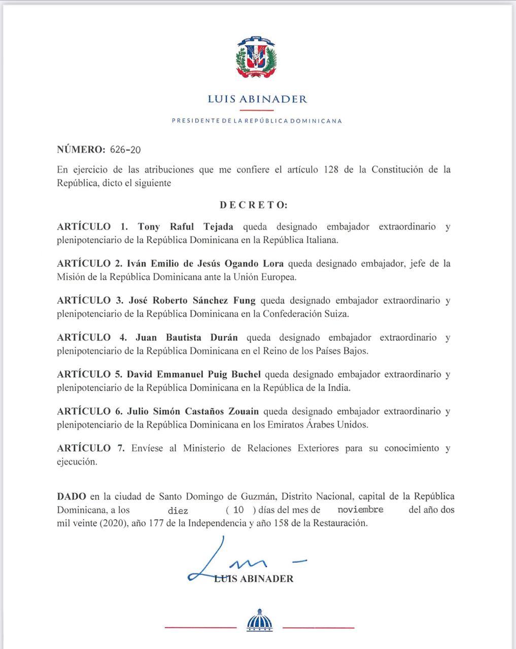Decreto 626-20
