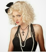Madonna 80s Look - Beaded black and white necklaces, crucifix necklace