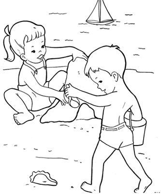 Tranh tô màu thiếu nhi vui chơi trên cát