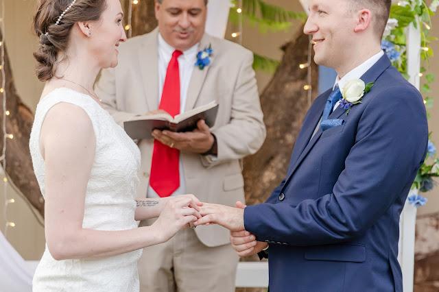 ring exchange at a backyard AZ wedding in july