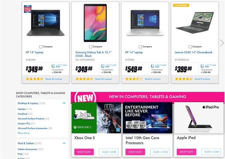 オーストラリアの家電量販店のホームページにコンピューターとタブレットが載っている画像写真